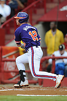 First Baseman Jon McGibbon #12 of the Clemson Tigers swings at a pitch during a game against the South Carolina Gamecocks at Carolina Stadium on March 3, 2012 in Columbia, South Carolina. The Gamecocks defeated the Tigers 9-6. Tony Farlow/Four Seam Images.