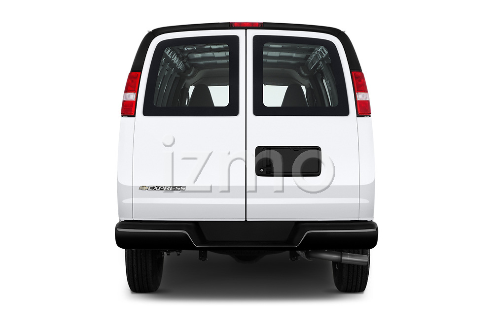 Straight rear view of a 2018 Chevrolet Express 3500 3500 Extended Work Van 4 Door Cargo Van stock images