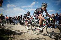 Koen de Kort (NLD/Giant-Alpecin) over sector 6A: Bourghelles à Wannehain (1.1km)<br /> <br /> 113th Paris-Roubaix 2015