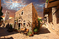 Medieavl streets of the Genoese mastic fort village of Mesta, Mastichochoria area of Chios Island, Greece.