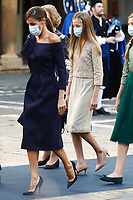 OVIEDO, SPAIN - October 16: **NO SPAIN**  Queen Letizia, Princess Sofia and Crown Princess Leonor of Spain at the Princess of Asturias awards 2020 at the Reconquista hotel in Oviedo, Spain on the 16th of October of 2020.. <br /> CAP/MPI/RJO<br /> ©RJO/MPI/Capital Pictures