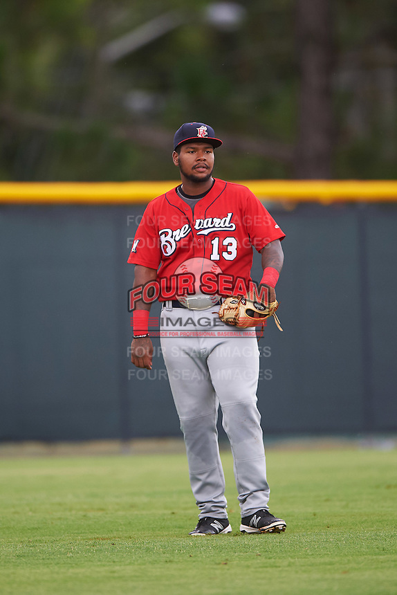 Brevard County Manatees left fielder David Denson (13) during a game against the Lakeland Flying Tigers on August 8, 2016 at Henley Field in Lakeland, Florida.  Lakeland defeated Brevard County 6-2.  (Mike Janes/Four Seam Images)