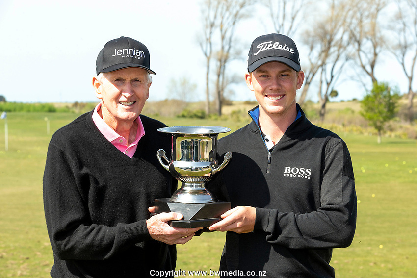 Sir Bob Charles and Daniel Hillier during the Jennian Homes Charles Tour Pegasus Open, Pegasus Golf Club, Christchurch, 4 October 2020. Photo: Martin Hunter/www.bwmedia.co.nz