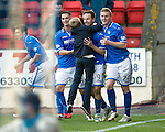 St Johnstone v Inverness Caledonian Thistle...05.10.13      SPFL<br /> Steven MacLean celebrates the fourth goal<br /> Picture by Graeme Hart.<br /> Copyright Perthshire Picture Agency<br /> Tel: 01738 623350  Mobile: 07990 594431