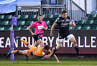 1st May 2021; Recreation Ground, Bath, Somerset, England; European Challenge Cup Rugby, Bath versus Montpellier; Will Muir of Bath hands off Vincent Rattez of Montpellier