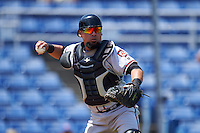 Richmond Flying Squirrels catcher Eliezer Zambrano (2) throws to first for the out during a game against the Binghamton Mets on June 26, 2016 at NYSEG Stadium in Binghamton, New York.  Binghamton defeated Richmond 7-2.  (Mike Janes/Four Seam Images)