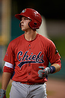 Peoria Chiefs third baseman Nolan Gorman (4) on deck during a game against the Bowling Green Hot Rods on September 15, 2018 at Bowling Green Ballpark in Bowling Green, Kentucky.  Bowling Green defeated Peoria 6-1.  (Mike Janes/Four Seam Images)
