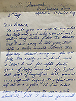 BNPS.co.uk (01202 558833)<br /> Pic: OmegaAuctions/BNPS<br /> <br /> Pictured: In August 1970 she got a letter from Harold Harrison, George's father, telling her that Louise had died in July after a 12-month illness.<br /> <br /> A collection of letters George Harrison's mother wrote to a Beatles fan over a five-year period has emerged for sale.<br /> <br /> Louise Harrison wrote to super fan Lorraine O'Malley from August 1964 until her death in 1970, sharing notable events in the band and Harrison's life like the band getting MBEs and her son's marriage to Pattie Boyd.<br /> <br /> Mrs O'Malley, who started writing as a star-struck 16-year-old, kept the letters safely stored in a safety deposit box for the next 50 years.<br /> <br /> She has now decided to put the 55 letters up for sale with Omega Auctions, based in Merseyside, with an estimate of £6,000.