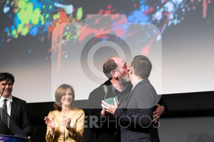 Actors Ana Torrent, Karra Elejalde, producer Fernando Bovaira and the director Alejandro Amenabar during Spanish Cinema Gala at 64 Seminci Cinema Festival. October 22,2019. (ALTERPHOTOS/IVAN TOME)