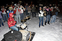 Omaha, NE - DECEMBER 20:  Band of the Stanford Cardinal outside the hotel before Stanford's 2008 NCAA Division I Women's Volleyball Final Four Championship match against the Penn State Nittany Lions on December 20, 2008 at the Embassy Suites Omaha in Omaha, Nebraska.