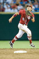 Oklahoma SS Caleb Bushyhead in Game 10 of the NCAA Division One Men's College World Series on June 24th, 2010 at Johnny Rosenblatt Stadium in Omaha, Nebraska.  (Photo by Andrew Woolley / Four Seam Images)