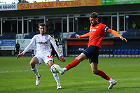 4th May 2021; Kenilworth Road, Luton, Bedfordshire, England; English Football League Championship Football, Luton Town versus Rotherham United; Sonny Bradley of Luton Town competes for the ball with Dan Barlaser of Rotherham United