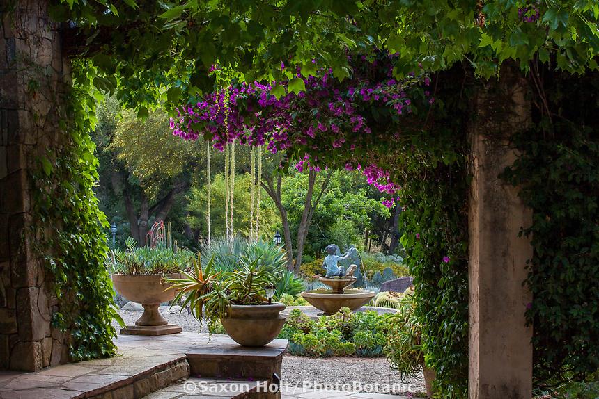 View into courtyard secret garden; Taft Gardens; Ojai, California