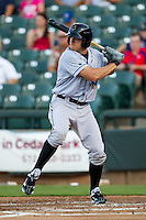 Omaha Storm Chasers outfielder Mitch Maier #18 at bat during the Pacific Coast League baseball game against the Round Rock Express on July 20, 2012 at the Dell Diamond in Round Rock, Texas. The Chasers defeated the Express 10-4. (Andrew Woolley/Four Seam Images).