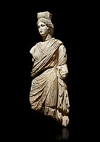 Roman statue of Tyche. Marble. Perge. 2nd century AD. Inv no 3062 . Antalya Archaeology Museum; Turkey.  Against a black background.<br /> <br /> A Tyche; was the presiding tutelary deity who governed the fortune and prosperity of a city; its destiny. In Classical Greek mythology; she is the daughter of Aphrodite and Zeus or Hermes.