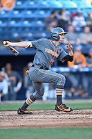 Tennessee Volunteers right fielder Chris Hall (5) swings at a pitch during a game against the UNC Asheville Bulldogs at McCormick Field on March 15, 2016 in Asheville, North Carolina. The Volunteers defeated the Bull Dogs 7-3. (Tony Farlow/Four Seam Images)