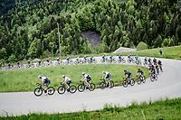 Team Israel Start-Up Nation, including Chris Froome (GBR/Israel Start-Up Nation), leading the peloton up the Col des Aravis (2Cat/1498m/6.7km@7%)<br /> <br /> 73rd Critérium du Dauphiné 2021 (2.UWT)<br /> Stage 8 (Final) from La Léchère-Les-Bains to Les Gets (147km)<br /> <br /> ©kramon