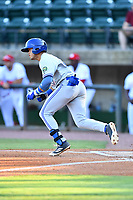 Bluefield Blue Jays right fielder Dominic Abbadessa (2) runs to first base during a game against the Greeneville Reds at Pioneer Park on June 30, 2018 in Greeneville, Tennessee. The Blue Jays defeated the Red 7-3. (Tony Farlow/Four Seam Images)