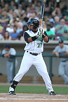 Dayton Dragons outfielder Juan Silva #27 bats during a game against the Lake County Captains at Fifth Third Field on June 25, 2012 in Dayton, Ohio. Lake County defeated Dayton 8-3. (Brace Hemmelgarn/Four Seam Images)