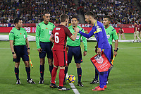Carson, CA - Sunday January 28, 2018: Wil Trapp, Hector Martinez during an international friendly between the men's national teams of the United States (USA) and Bosnia and Herzegovina (BIH) at the StubHub Center.
