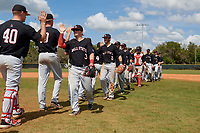 Ball State Cardinals Noah Powell (3), Noah Navarro (8), John Ricotta (31), Chase Sebby (20) high five teammates after a game against the Saint Joseph's Hawks on March 9, 2019 at North Charlotte Regional Park in Port Charlotte, Florida.  Ball State defeated Saint Joseph's 7-5.  (Mike Janes/Four Seam Images)