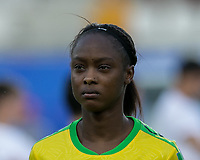 GRENOBLE, FRANCE - JUNE 18: Sashana Campbell #12 of the Jamaican National Team during a game between Jamaica and Australia at Stade des Alpes on June 18, 2019 in Grenoble, France.