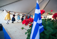 """Northern Lights"" (Vorio Sellas) dancers performs a traditional Greek dance routine during the Holy Transfiguration Greek Orthodox Church's 21st annual Greek Festival."