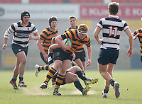 2015 ULSTER SCHOOLS CUP FINAL | Tuesday 17th March 2015<br /> <br /> John Dickson is tackled by Ben Pentland during the 2015 Ulster Schools Cup Final between RBAI and Wallace High School at the Kingspan Stadium, Ravenhill Park, Belfast, Count Down, Northern Ireland.<br /> <br /> Picture credit: John Dickson / DICKSONDIGITAL
