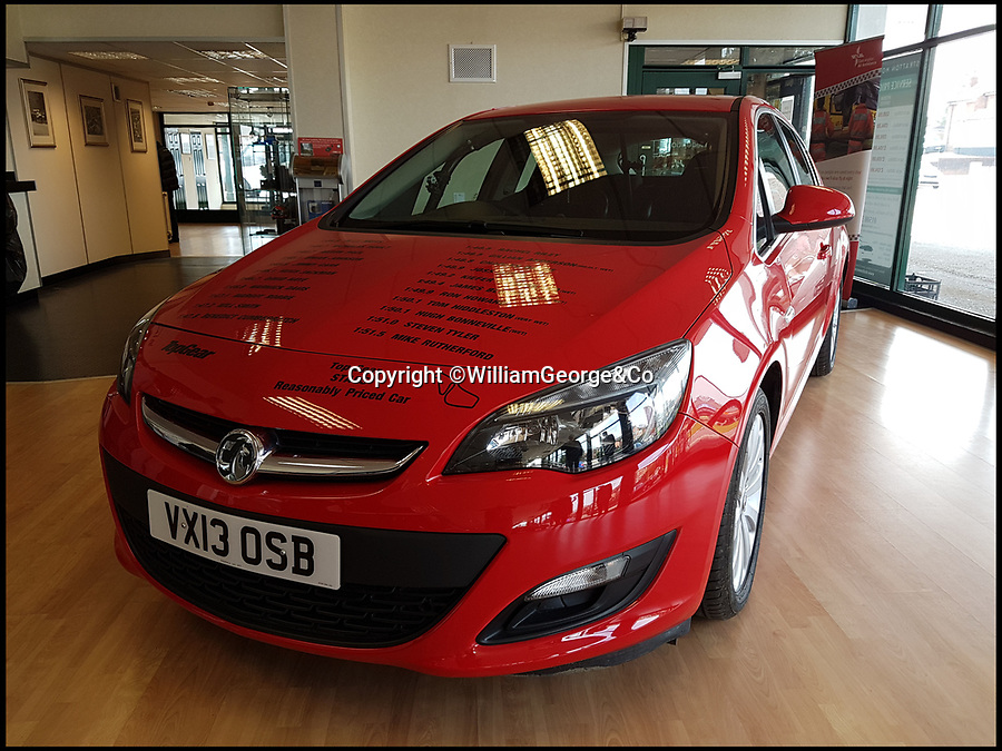 BNPS.co.uk (01202 558833)Pic: WilliamGeorge&Co/BNPS<br /> <br /> A Vauxhall Astra used in the classic 'Star in a Reasonably Priced Car' segment of Top Gear has emerged for sale at auction.<br /> <br /> The red hatchback was used throughout the last three seasons of the show to be hosted by Jeremy Clarkson, Richard Hammond and James May, before the feature was replaced.<br /> <br /> It was driven by celebrities including Will Smith, Margot Robbie and Jimmy Carr and has been with its current owner for three years.<br /> <br /> He has now decided the time is right to part with his unique piece of TV history and it has been listed for sale with online auction house William George & co.<br /> <br /> Bidding on the car is already open and currently stands at £11,500.