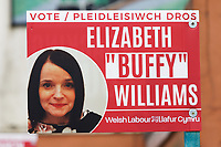 """Pictured: A Welsh Labour candidate poster for Elizabeth """"Buffy"""" Williams in Pentre. Tuesday 27 April 2021<br /> Re: Senedd (Welsh Parliament) pre-election campaing in Rhondda Cynon Taff, Wales, UK."""