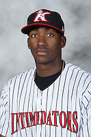 Kannapolis Intimidators outfielder Micker Adolfo (27) poses for a photo at Kannapolis Intimidators Stadium on April 21, 2016 in Kannapolis, North Carolina.  (Brian Westerholt/Four Seam Images)