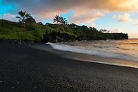 Black sand beach at Waianapanapa in Hana on Maui in the Hawaiian Islands