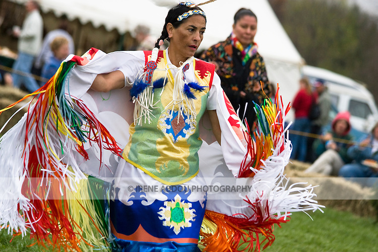 """A Native American """"Fancy Dancer"""" performs at the 1st annual Healing Horse Spirit PowWow in Mt. Airy, Maryland, USA."""