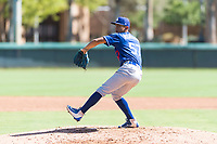 Los Angeles Dodgers relief pitcher Carlos Montilla (57) delivers a pitch during an Instructional League game against the Oakland Athletics at Camelback Ranch on September 27, 2018 in Glendale, Arizona. (Zachary Lucy/Four Seam Images)