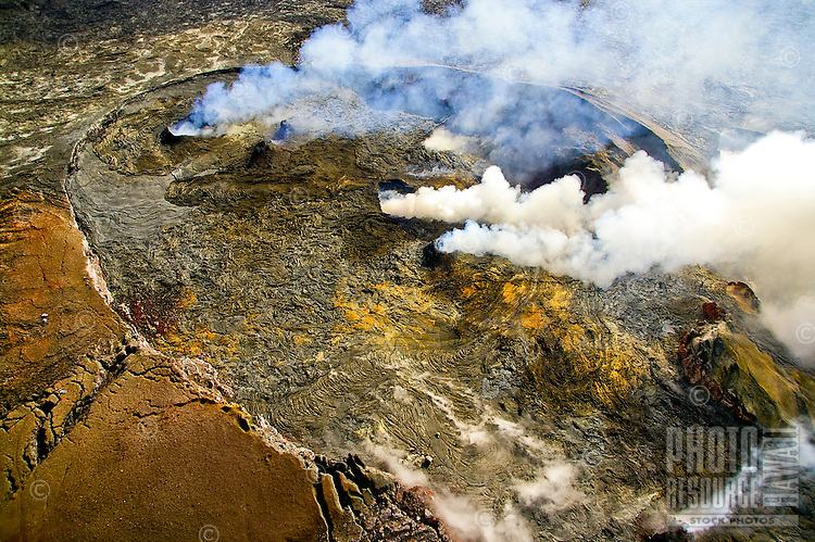 Steam pouring from Kilauea volcano on the Big Island of Hawaii hints a great forces at work below.