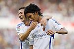 Zaragoza's Abel Aguilar (r) and Gabi Fernandez (l) during La Liga match. September 27 2009. (ALTERPHOTOS/Acero).