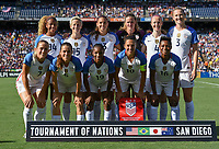 San Diego, CA - Sunday July 30, 2017: USWNT starting eleven during a 2017 Tournament of Nations match between the women's national teams of the United States (USA) and Brazil (BRA) at Qualcomm Stadium.
