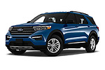 Stock pictures of low aggressive front three quarter view of 2020 Ford Explorer XLT 5 Door SUV Low Aggressive