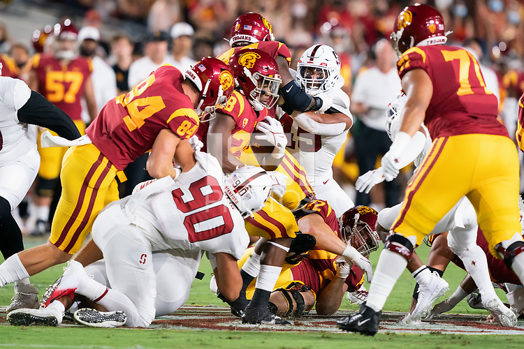 LOS ANGELES, CA - SEPTEMBER 11: Ricky Miezan during a game between University of Southern California and Stanford Football at Los Angeles Memorial Coliseum on September 11, 2021 in Los Angeles, California.
