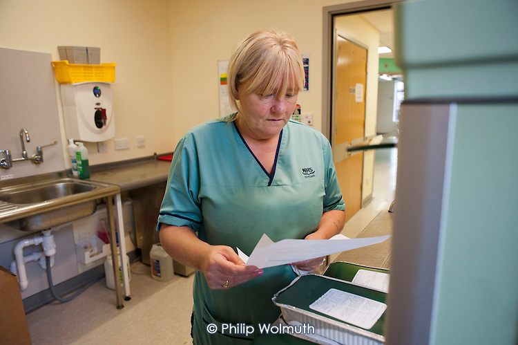 A domestic worker at Glasgow Royal Infirmary, where all hospital ancillary services are provided by directly employed staff.  A PFI contract with Sodexho ended in 2006 following successful industrial action over pay and conditions.  The success of the in-house services influenced the Scottish Parliament's 2008 decision to bring all hospital cleaning in Scotland in-house.
