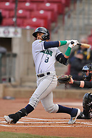 Cedar Rapids Kernels center fielder Gilberto Celestino (8) swings at a pitch against the Quad Cities River Bandits at Veterans Memorial Stadium on April 15, 2019 in Cedar Rapids, Iowa.  The River Bandits won 7-2.  (Dennis Hubbard/Four Seam Images)