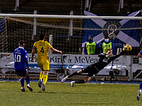 5th April 2021; Palmerston Park, Dumfries, Scotland; Scottish Cup Third Round, Queen of the South versus Hibernian; Matt Macey of Hibernian makes a save from Connor Shields of QOTS