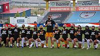 HERRIMAN, UT - JULY 17: Utah Royals FC players \participate in the National Anthem during a game between Utah Royals FC and Houston Dash at Zions Bank Stadium on July 17, 2020 in Herriman, Utah.