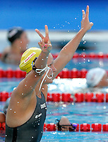 Sweden's Sarah Sjostrom celebrates after setting the new world record clocking 56.06 in the women's 100 meters butterfly event at the Swimming World Championships in Rome, 27 July 2009..UPDATE IMAGES PRESS/Riccardo De Luca