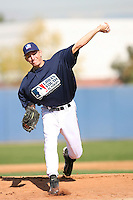 February 10 2008: Mike Montgomery participates in a MLB pre draft workout for high school players at the Urban Youth Academy in Compton,CA.  Photo by Larry Goren/Four Seam Images
