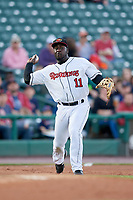 Rochester Red Wings third baseman Jermaine Curtis (11) throws to first base during a game against the Pawtucket Red Sox on May 19, 2018 at Frontier Field in Rochester, New York.  Rochester defeated Pawtucket 2-1.  (Mike Janes/Four Seam Images)