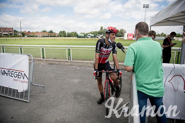 Philippe Gilbert (BEL/Lotto-Soudal) interviewed at the Race Start in the Waregem Hippodrome <br /> <br /> Belgian National Championships 2021 - Road Race<br /> <br /> One day race from Waregem to Waregem (221km)<br /> <br /> ©kramon