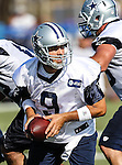 Dallas Cowboys quarterback Tony Romo (9) in action at the Dallas Cowboys 2012 Training Camp which was held at the Marriott Resident Inn football fields in Oxnard, CA.