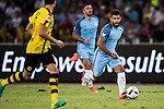 Manchester City striker Sergio Aguero (l) during the match against Borussia at the 2016 International Champions Cup China match at the Shenzhen Stadium on 28 July 2016 in Shenzhen, China. Photo by Victor Fraile / Power Sport Images