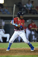 Jhonny Pereda (15) of the Myrtle Beach Pelicans at bat during the 2018 Carolina League All-Star Classic at Five County Stadium on June 19, 2018 in Zebulon, North Carolina. The South All-Stars defeated the North All-Stars 7-6.  (Brian Westerholt/Four Seam Images)